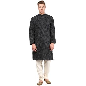 Black Abstract Woven Long kurta