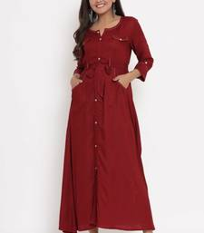 Charu Womens Rayon Self Textured Flared Long Gown (Maroon)