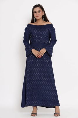 Charu Womens Rayon Slub Embroidered Flared Long Gown (Navy)