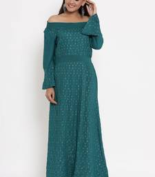 Charu Womens Rayon Slub Embroidered Flared Long Gown (Teal Green)