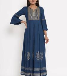 Charu Womens Rayon Slub Embroidered & Printed Flared Long Gown (Teal Blue)