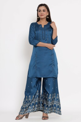 Charu Womens Linen Silk Embroidered Printed Straight Kurta Palazzo Set (Teal Blue)
