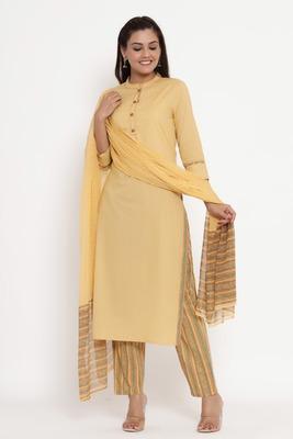 Charu Womens Cotton & Chiffon Printed Straight Kurta Pant Dupatta Set (Beige)