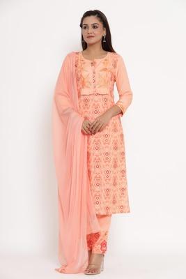 Charu Womens Rayon & Chiffon Embroidered Printed Straight Kurta Pant Dupatta Set (Peach)