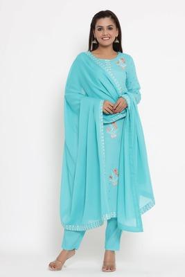 Charu Womens Rayon Slub & Cotton Embroidered Printed Straight Kurta Pant Dupatta Set (Sky Blue)