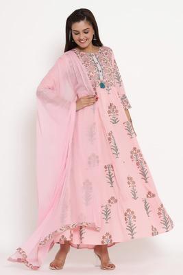 Charu Womens Cotton & Chiffon Printed Flared Long Kurta with Dupatta (Pink)