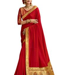 Red plain chanderi silk saree with blouse