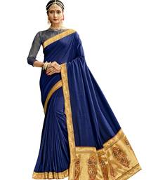 Navy blue plain chanderi silk saree with blouse