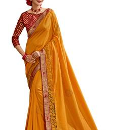 Orange plain chanderi silk saree with blouse