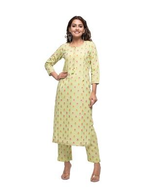 Green Floral Printed Kurta Pant Set