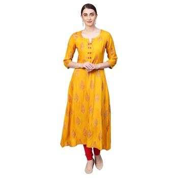 Yellow Rayon Half Sleeve Round Neck Printed Kurtas