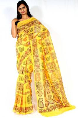 Chanderi fancy printed pallu saree