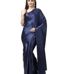 Navy blue plain satin saree with blouse