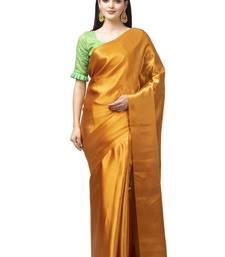 Mustard plain satin saree with blouse