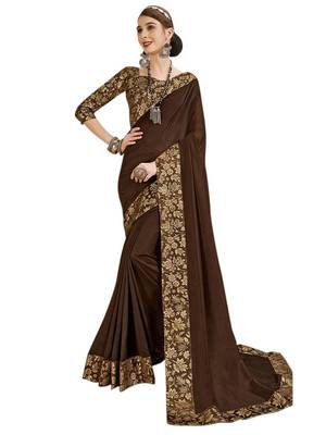 Dark brown woven poly silk saree with blouse
