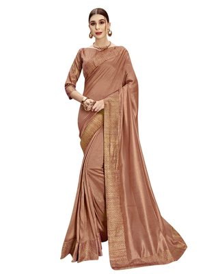 Brown woven poly silk saree with blouse