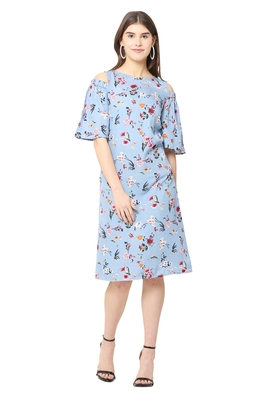 Blue printed crepe short-dresses