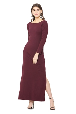 Maroon plain blended cotton long-dresses