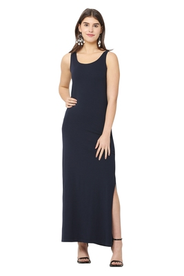 Navy-blue plain blended cotton long-dresses