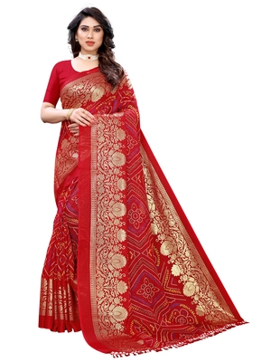 Maroon printed poly cotton saree with blouse