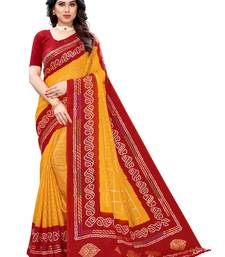 Mustard printed poly cotton saree with blouse
