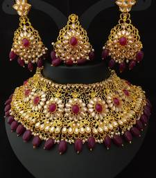 Gold Plated Crystal   Pearl Heavy Necklace with Earrings   Maang Tikka Jewellery Set For Womens   GirlsRed