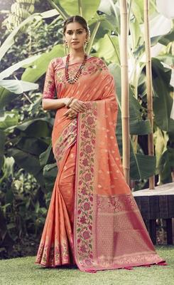 Salmon woven banarasi silk saree with blouse