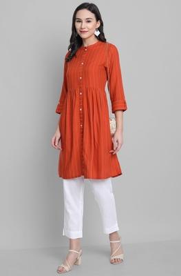 Orange woven rayon short-kurtis