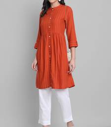 Orange woven rayon short-kurtis