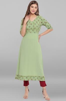 Green printed crepe ethnic-kurtis