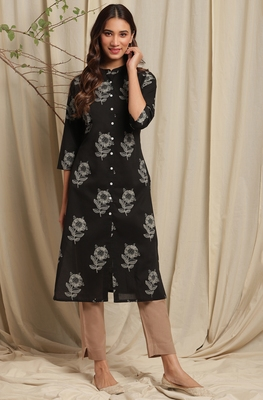 Black printed cotton ethnic-kurtis