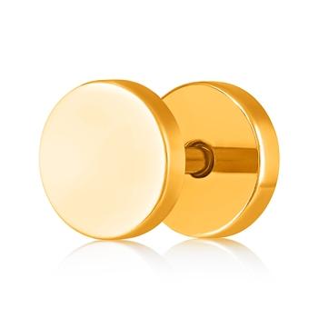 Asmitta Glossy Gold toned Single Stud Earring For Men