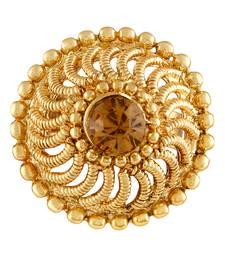 Asmitta Traditional Filigiree design Gold toned Free Size Finger Ring For Women