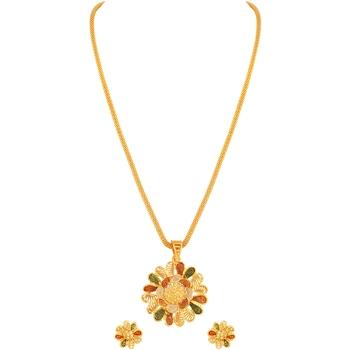 Asmitta Floral design Gold tone Meenakari Pendant Set For Women