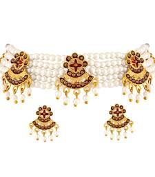 Asmitta Pearl Studded Choker Necklace Set for Women and Girls