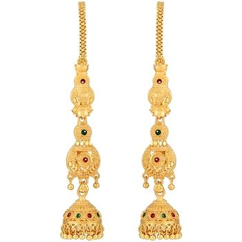 Asmitta Traditional Meenakari  Gold toned with Long Patta Chain Brass Jhumki Earring For Women