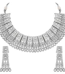 Asmitta Sterling Silver toned Choker Necklace Set for Women and Girls
