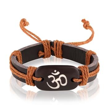 Asmitta Om Brown Leather Bracelet For Men