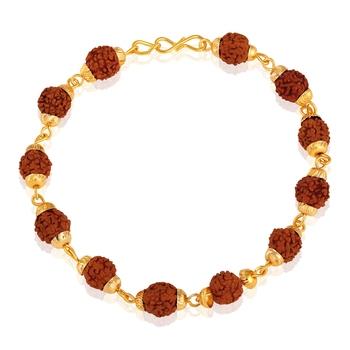 Asmitta Gold toned Rudraksha Bracelet For Men
