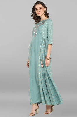 Green printed polyester party-wear-kurtis