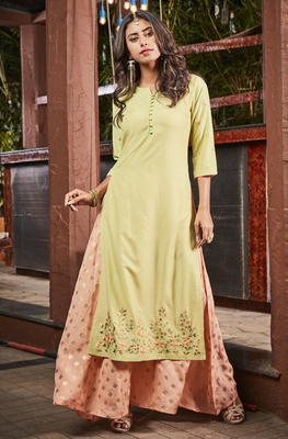Green embroidered polyester party-wear-kurtis