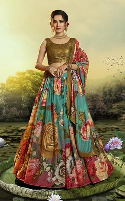 Multicolor printed organza semi stitched lehenga