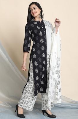 Black block print cotton salwar