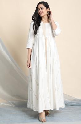 Off-white printed cotton party-wear-kurtis
