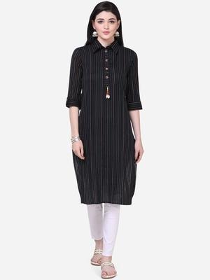 plain Cotton Black kurta