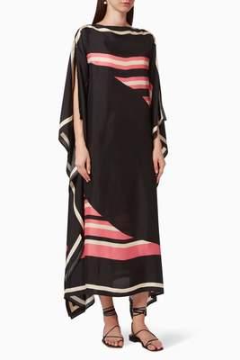JSDC Women Casual Wear Digital Printed Striped Pattern Crepe Kaftan