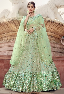 Light-green Thread and sequins embroidered net semi stitched bridal lehenga