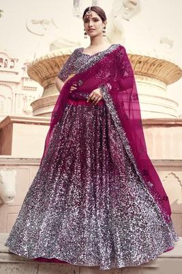 Wine sequins embroidered net semi stitched bridal lehenga
