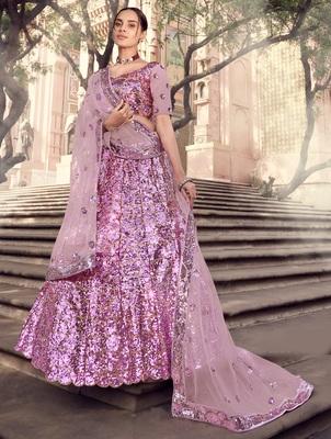 Lilac sequins embroidered net semi stitched bridal lehenga