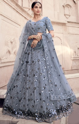 Grey Thread and sequins embroidered net semi stitched bridal lehenga